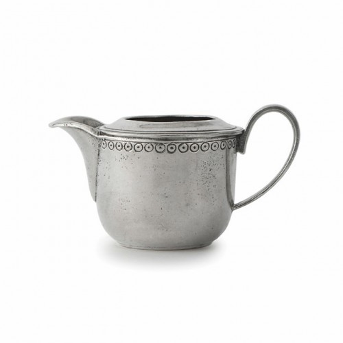 "Arte Italica Anna Creamer  The Anna Caffe collection is created by Italian artisans using the highest quality Italian pewter and glass. Each piece is adorned with a delicate pattern that is reminiscent of vintage lace. These pieces combine beautifully with a variety of our other stunning collections. Handmade in Italy.  Hand wash only.  Dimensions: 5.5"" W X 3"" H, 6.5 OZ SKU: ANN2008"