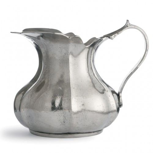 """Each one-of-a-kind pitcher is a marriage of the highest quality pewter combined with the talents of Italian artisans, using techniques passed down through generations. Italian pewter, Hand made in Italy.  Dishwasher safe on the low-heat/air-dry setting, non-abrasive detergent recommended.  Dimensions: 5.5"""" H X 7"""" D, 28 OZ SKU: VIN0390"""