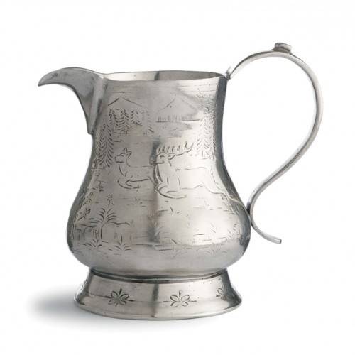 """Each one-of-a-kind pitcher is a marriage of the highest quality pewter combined with the talents of Italian artisans, using techniques passed down through generations. Italian pewter, Hand made in Italy.  Dishwasher safe on the low-heat/air-dry setting, non-abrasive detergent recommended.  Dimensions: 7"""" H X 8"""" D, 36 OZ SKU: VIN0303"""