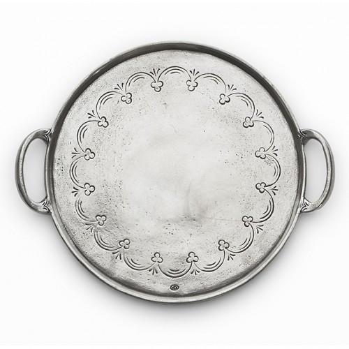 """This pewter tray utilizes centuries old techniques and fine Italian craftsmanship. Each is made with the finest quality pewter, distressed and hand-finished for a rich patina. Italian pewter, Hand made in Italy.  Wipe clean with a damp cloth.  Dimensions: 9.25"""" D SKU: VIN2345"""