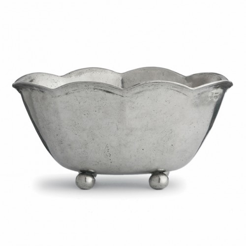 "Whether serving or displaying, this elegant scalloped piece is the perfect marriage of centuries-old form and modern convenience. Italian pewter, Hand made in Italy.  Wipe clean with a damp cloth.  Dimensions: 11.5"" L x 12.5"" W x 6"" H SKU: PE1667"