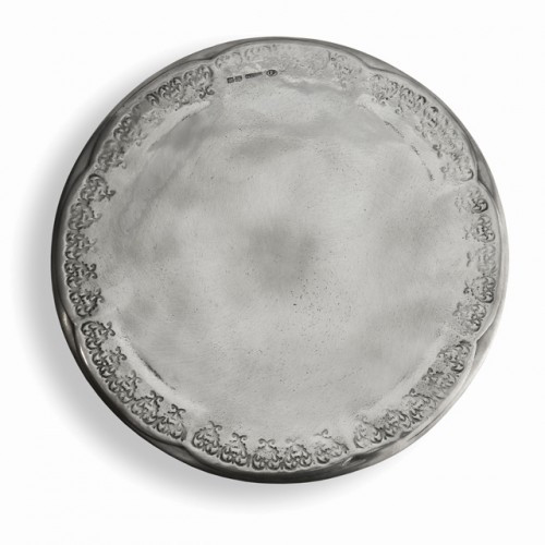 "This pewter cake plate utilize centuries old techniques and fine Italian craftsmanship. Each is made with the finest quality pewter, distressed and hand-finished for a rich patina. Italian pewter, Hand made in Italy.  Wipe clean with a damp cloth.  Dimensions: 12.5""D SKU: VIN1195"