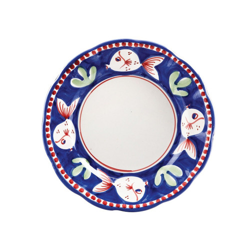 "The colorful blue and red Campagna Pesce Salad Plate features whimsical handpainted fish swimming among green algae. 8""D PES-1001N"