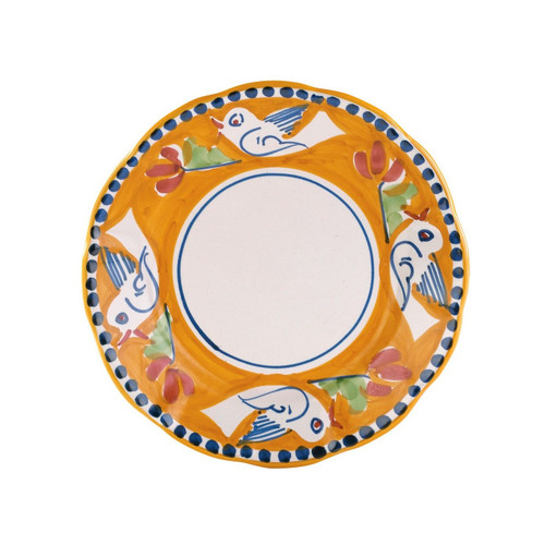 """The colorful orange and blue Campagna Uccello Salad Plate features whimsical handpainted birds and flowers. Mix with other animals from the Campagna collection to create a fun table that captures the vitality of the Italian countryside! 8""""D UCC-1001"""