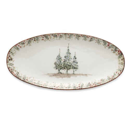 "Natale is the perfect collection to entertain through the winter season. Berries and pine boughs surround the snowy evergreens. Our Natale Oval Platter is perfect for entertaining, use it to serve up holiday favorites. Hand made in Italy.  Microwaveable (may get hot) and dishwasher safe on the low heat, air-dry setting.  Dimensions: 15"" L X 7.25"" W X 1.25"" H SKU: NAT6813"