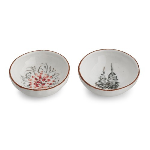 """Natale is the perfect collection to entertain through the winter season. Our dipping bowls come as a set of two, one with two trees and the other with berries. Use them for dips, condiments or as gifts filled with holiday candies. Hand made in Italy.  Microwaveable (may get hot) and dishwasher safe on the low heat, air-dry setting.  Dimensions: 4.25"""" D X 1.5"""" H SKU: NAT6811"""