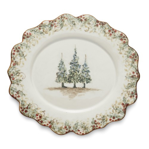 "Natale is the perfect collection to entertain through the winter season. Berries and pine boughs surround the snowy evergreens. Our Natale Oval Scalloped Plate is perfect for entertaining, use it to serve up holiday favorites. Hand made in Italy.  Microwaveable (may get hot) and dishwasher safe on the low heat, air-dry setting.  Dimensions: 11.25"" L X 10.25"" W SKU: NAT6810"