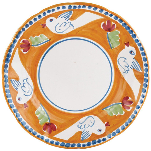"""The colorful orange and blue Campagna Uccello Service Plate/Charger, featuring whimsical handpainted birds and flowers, doubles as a serving platter. Mix with other animals from the Campagna collection to create a fun table that captures the vitality of the Italian countryside! 12""""D UCC-1020"""