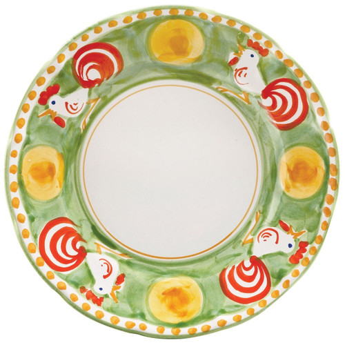 """The Gallina Service Plate/Charger features whimsical handpainted roosters and is part of our flagship dinnerware collection, Campagna. 12"""" D GNA-1020"""
