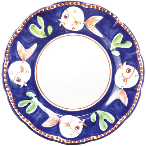 "The colorful blue and red Campagna Pesce Service Plate/Charger features whimsical handpainted fish swimming among green algae. 12""D PES-1020N"