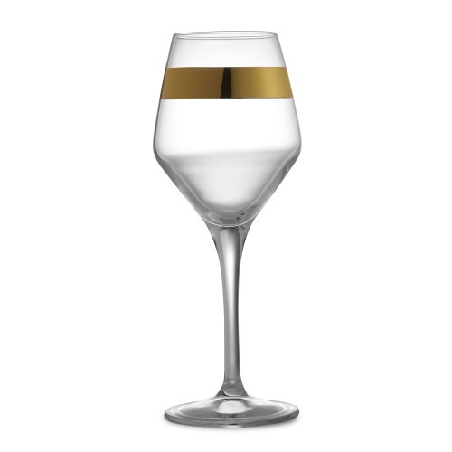 """Simple in design, yet timeless and sophisticated is the Semplice Barware Collection. Each piece has a beautiful wide band, hand-painted in 24 karat gold paint. Italian glass, Hand made in Italy.  Hand wash only.  Dimensions: 9"""" H X 2.5"""" D, 12 OZ SKU: SEM4876"""
