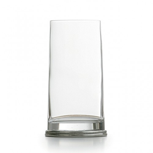"""This delightfully unusual glass combines a round glass top that flows into a unique oval pewter base. Italian pewter and glass, Hand made in Italy.  Hand wash only.  Dimensions: 6.25"""" H X 2.75"""" D, 15 OZ SKU: PE1741"""