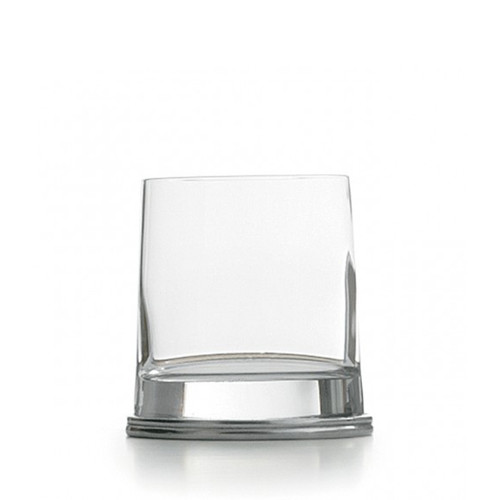 """This delightfully unusual glass combines a round glass top that flows into a unique oval pewter base. Italian pewter and glass, Hand made in Italy.  Hand wash only.  Dimensions: 4"""" H X 3.25"""" D, 11 OZ SKU: PE1740"""