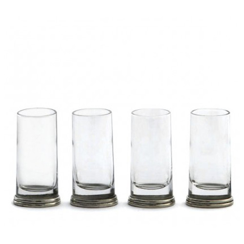 This delightfully unusual glass combines a round glass top that flows into a unique oval pewter base. Italian pewter and glass, Hand made in Italy.  Set/4  Hand wash only.  SKU: PE1742