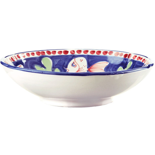 """This colorful blue and red Campagna Pesce Coupe Pasta Bowl features whimsical handpainted fish swimming among green algae. 8.75""""D PES-1003N"""