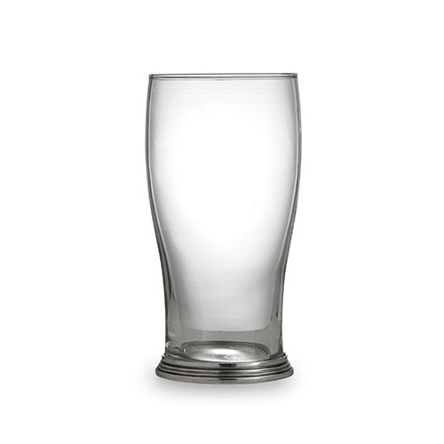 """The Taverna Collection evokes the tradition of meeting friends and family at the local tavern to socialize. Bring that tradition to your home with our new beer glasses! This pint glass is the perfect piece for your favorite brew and makes a perfect gift for any beer lover! Italian pewter and glass, Hand made in Italy.  Hand wash only.  Dimensions: 3.25"""" D X 6.5"""" H, 16 OZ SKU: P2921"""