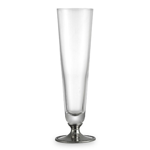 "The Taverna Collection evokes the tradition of meeting friends and family at the local tavern to socialize. Bring that tradition to your home with our new beer glasses! This pilsner glass is the perfect piece for your favorite brew and makes a perfect gift for any beer lover! Italian pewter and glass, Hand made in Italy.  Hand wash only.  Dimensions: 2.75"" D X 10"" H, 12 OZ SKU: P2913"
