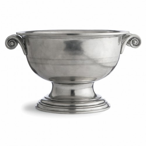 "Handcrafted Italian pewter creates this elegant bowl. Whether used as a serving piece, ice bucket, beverage cooler, punch bowl or decorative accessory, this bowl makes a statement. Italian pewter, Hand made in Italy.  Wipe clean with a damp cloth.  Dimensions: 9.25"" H x 16"" D SKU: P2775"