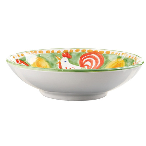"""The Gallina Coupe Pasta Bowl features whimsical handpainted roosters and is part of our flagship dinnerware collection, Campagna. 8.75"""" D GNA-1003"""