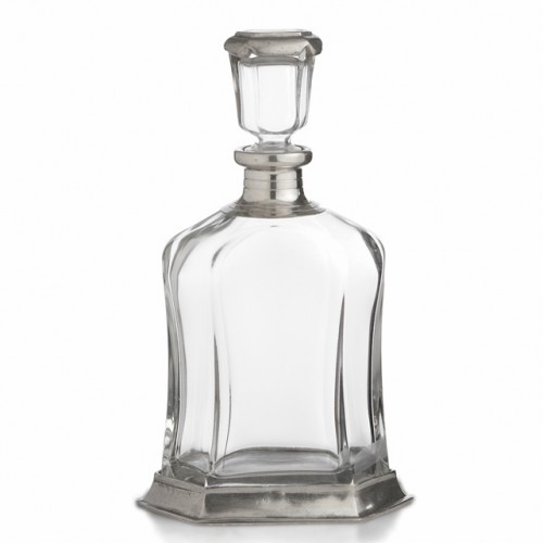 """This elegant decanter will add a distinguished air to any occasion. Italian pewter and glass, Hand made in Italy.  Hand wash only.  Dimensions: 4"""" L X 6.5""""W X 11""""H, 27 OZ SKU: PE848"""