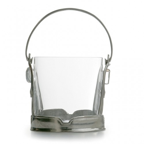 "This elegant ice bucket will add a distinguished air to any occasion. Italian pewter and glass, Hand made in Italy.  Hand wash only.  Dimensions: 5.5"" H x 6.5"" D SKU: PE1718"