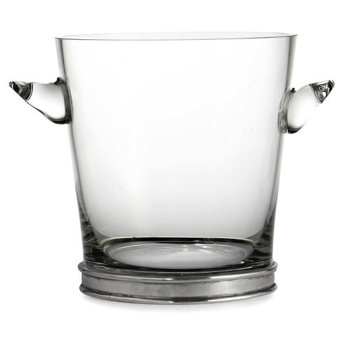 "This elegant ice bucket will add a distinguished air to any occasion. Italian pewter and glass, Hand made in Italy.  Hand wash only.  Dimensions: 6.75"" D X 7.5"" H SKU: P2945"