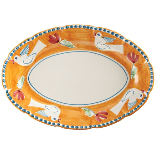 "The colorful orange and blue Campagna Uccello Oval Platter features whimsical handpainted birds and flowers. Mix with other animals from the Campagna collection to create a fun table that captures the vitality of the Italian countryside!  16""  Length, 11.5""  Width UCC-1022"