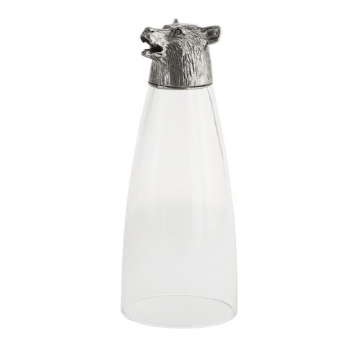 """Sophisticated whimsy is perfectly portrayed in this Animale glass, which was inspired by pewter cups used to celebrate the hunt in ages passed. The base features an animal which stands proudly while not in use and sits securely to hold a favorite cocktail. Italian glass and pewter. Hand made in Italy.   Hand wash only.  Dimensions: 3"""" D X 7.25"""" H, 16 OZ SKU: ANI0394BE"""