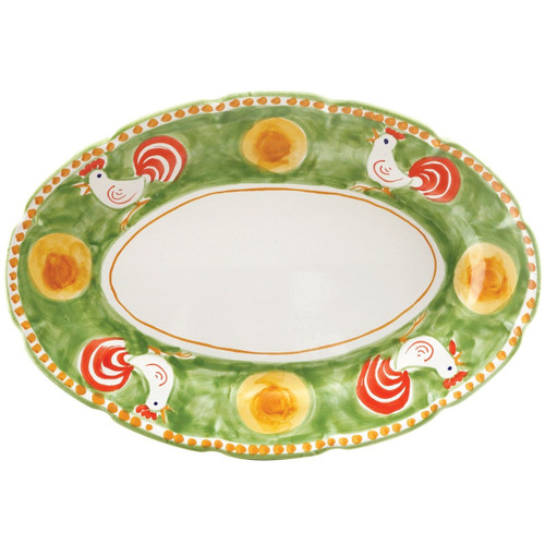 """The Gallina Oval Platter features whimsical handpainted roosters and is part of our flagship dinnerware collection, Campagna. 16"""" L, 11.5"""" W GNA-1022"""