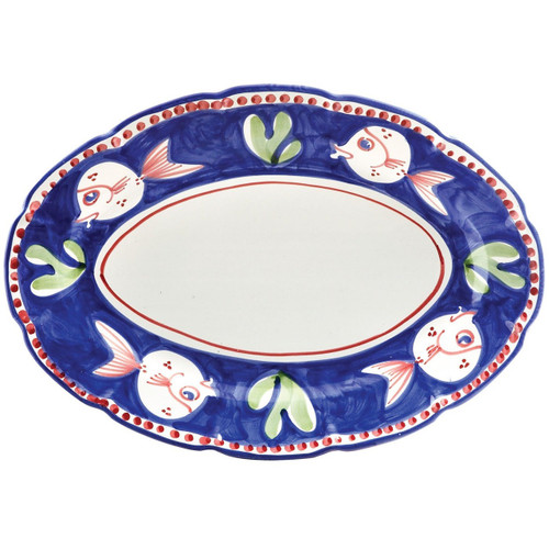 "The colorful blue and red Campagna Pesce Oval Platter features whimsical handpainted fish swimming among green algae. 16""L, 11.5""W PES-1022N"