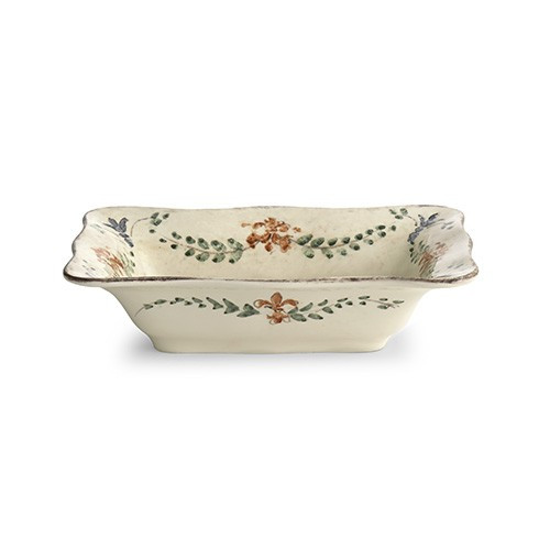 "The Medici Collection stands alone as a perfect entertaining collection with items ideal as gifts. The rectangular bowl is perfect for serving. Italian ceramic, Hand made in Italy.  Microwaveable (may get hot) and dishwasher safe on the low heat, air-dry setting.  Dimensions: 12"" L X 8"" W X 3"" H SKU: MED3131"