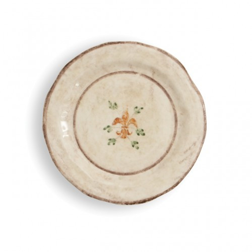 "The gentle cream color of this plate is accented with a beautiful, hand-painted giglio (fleur-de-lis) and vine motif in rich hues of green, blue and orange. The uneven edges and subtle colors add to the old world look. Italian ceramic, Hand made in Italy.  Microwaveable (may get hot) and dishwasher safe on the low heat, air-dry setting.  Dimensions: 8.5"" D SKU: MED9122"