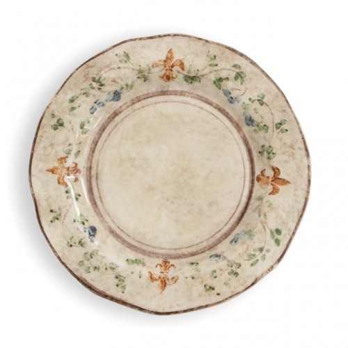"The gentle cream color of this plate is accented with a beautiful, hand-painted giglio (fleur-de-lis) and vine motif in rich hues of green, blue and orange. The uneven edges and subtle colors add to the old world look. Italian ceramic, Hand made in Italy.  Microwaveable (may get hot) and dishwasher safe on the low heat, air-dry setting.  Dimensions: 12"" D SKU: MED9130"