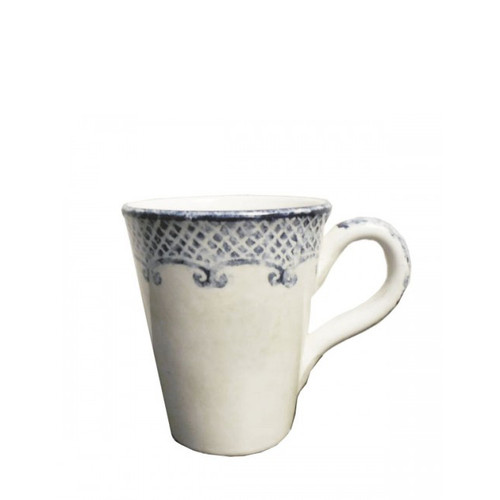 "Arte Italica Burano Mug  The Burano dinnerware collection is named for an island off the coast of Venice that prides itself as the center of embroidered lace. In hues of navy blue and warm white, the design is reminiscent of beautiful, hand-stitched lace. Hand painted on shapes with uneven edges, vintage and fresh combine in this charming collection. Hand made in Italy.  Dishwasher safe on the low-heat setting. Microwavable (may get hot).  Dimensions: 4.75"" H X 4"" D, 13 OZ SKU: BUR6028"