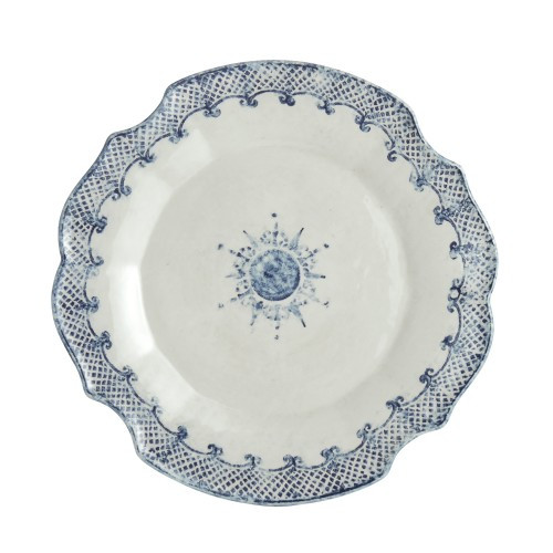 "Arte Italica Burano Charger/Platter  The Burano dinnerware collection is named for an island off the coast of Venice that prides itself as the center of embroidered lace. This piece makes a beautiful charger or serving platter. Hand made in Italy.  Dishwasher safe on the low-heat setting. Microwavable (may get hot).  Dimensions: 13.75"" D SKU: BUR6800"
