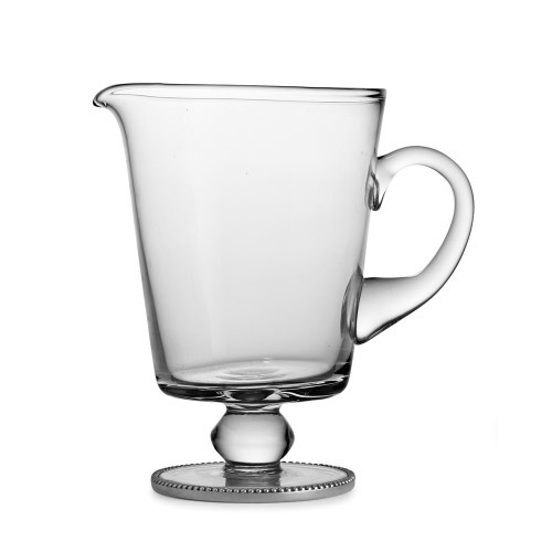 "Eleganza brings stunning glass and our signature pewter beading to life. Use this elegant pitcher to serve your favorite beverage or use it as a vase for flowers. Hand made in Italy.  HELE7435and wash only.  Dimensions: 8.25"" H X 5.5"" D, 38 OZ SKU:"