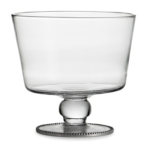 """Eleganza brings stunning glass and our signature pewter beading to life. Use this stunning bowl for layered salads and desserts. Hand made in Italy.  Hand wash only.  Dimensions: 7"""" D X 6.5"""" H SKU: ELE7434"""