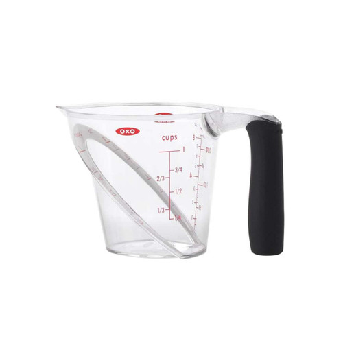 "OXO Good Grips 1-Cup Angled Measuring Cup  Angled to let you measure accurately from above  The patented angled surface allows you to see measurement markings from above as you're pouring, so you can better measure ingredients without bending or lifting the cup to eye level. Contains markings for cups, ounces, and milliliters. Also available in 2-Cup and 4-Cup versions.  6"" x 4"" x 4"""