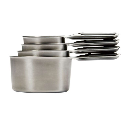 OXO Good Grips Stainless Steel Measuring Cups  Magnetic handles keep Cups conveniently organized  The Stainless Steel Measuring Cups' unique magnetic feature keeps the cups neatly stacked together and allows you to easily remove one at a time. The Cups feature permanent etched measurement markings and have soft, comfortable, non-slip handles.  1/4 cup 1/3 cup 1/2 cup 1 cup