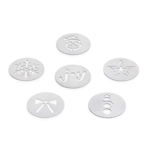 """OXO Good Grips Christmas Cookie Press Disk Set  Makes holiday cookies a breeze  The Christmas Cookie Press Disk set is the perfect addition to your collection for the holiday season. The six stainless steel disks are perfect for creating batches of fun, consistent cookies with the OXO Good Grips Cookie Press. These extra disks fit in the storage cases included with the Cookie Press and are dishwasher safe. Set includes Santa, Star, Snowman, Joy, Snowflake and Bow disks.  1.8"""" X 7.6"""" X 5.3"""""""