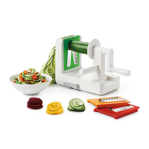 """OXO Good Grips Tabletop Spiralizer  Faster and safer than a knife, with a fun and unique end result  Our Spiralizer is perfect for creating vegetable noodles, a tasty, healthy alternative to pasta. You can also use it to make uniform spirals for curly fries, salads, garnishes and more. Three interchangeable stainless steel blades create spaghetti cut (1/8th inch), fettuccine cut (1/4th inch), or ribbon cut noodles, and a Stronghold™ suction cup prevents wobble on countertops. The removable blade box keeps blades clean, safe and organized when not in use and stores on board.  9.75"""" X 6.25"""" X 8.25"""""""