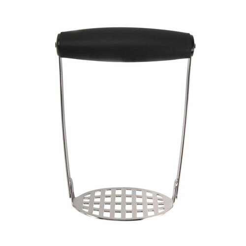 OXO Good Grips Smooth Potato Masher  Powerful yet comfortable even when mashing large amounts of potatoes  This innovative Potato Masher puts less pressure on your hands while churning out smooth, soft mashed potatoes. A broad, soft, horizontal handle lets you press straight down as it absorbs pressure. A fine-grid, stainless steel mashing plate yields smooth mashed potatoes with no lumps.  6'' x 4'' x 3''