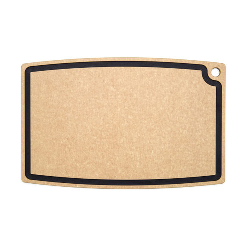 "Epicurean Chef 27"" x 17"" Cutting Board  The 27″ × 18″ Chef Series is one of our largest cutting surfaces. It's made using 1/2″ thick material and has almost 500 square inches of work area and a juice groove. Epicurean's Chef Series Cutting Surfaces are made from 1/2"" thick Richlite, an environmentally-friendly, natural wood fiber composite laminate that's non porous to prohibit bacteria. Approved by the NSF (National Sanitary Foundation), durable Richlite has been demanded by chefs in restaurants and commercial kitchens worldwide for over 40 years. Richlite won't dull knives, is dishwasher safe and temperature resistant up to 350ºF. It's ideal for food preparation and serving, and develops a richer color over time. Dimensions: 27"" x 17"" x 1/2"