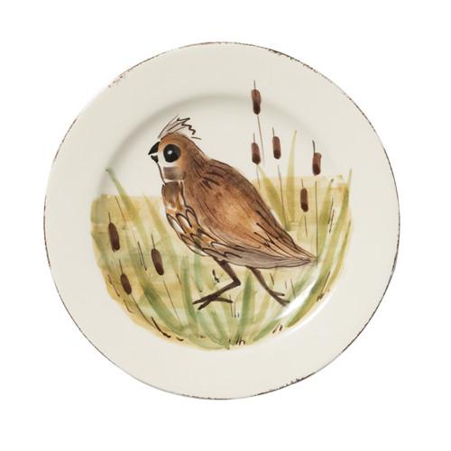 "Vietri Wildlife Quail Salad Plate  WDL-7801Q  8.5""D"