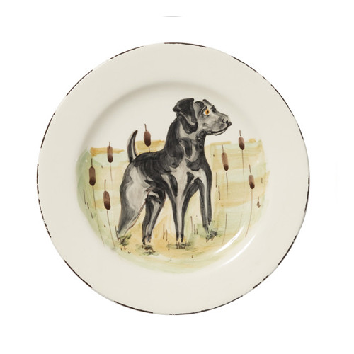 "Vietri Wildlife Black Hunting Dog Salad Plate  WDL-7801BL  8.5""D"