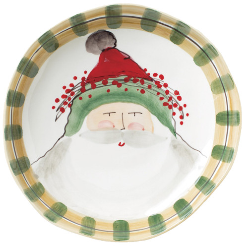 "Featuring handpainted designs by maestro artisan Alessandro Taddei, the Old St. Nick Large Shallow Serving Bowl is a versatile serving piece for all of your holiday celebrations. Capture Babbo Natale spreading holiday cheer throughout the season with this timeless collection. 13.25""D OSN-78022"