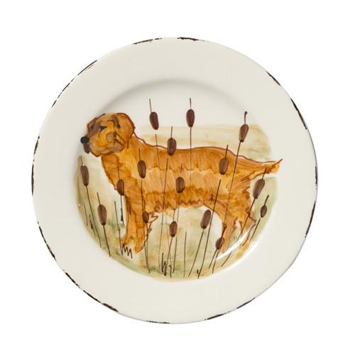 "Vietri Wildlife Hunting Dog Salad Plate  8.5""D  WDL-7801GR"