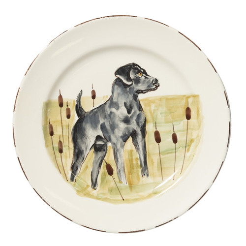 """Vietri Wildlife Black Hunting Dog Dinner Plate  11""""D WDL-7800BL  Celebrate the grandeur of wildlife with Vietri's whimsical collection from plumpuddingkitchen.com featuring mallards, pheasants, quails and the beloved hunting dog."""