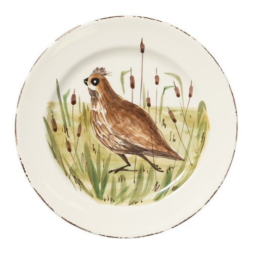 "Vietri Wildlife Quail Dinner Plate  11""D WDL-7800Q  Celebrate the grandeur of wildlife with Vietri's whimsical collection from plumpuddingkitchen.com featuring mallards, pheasants, quails and the beloved hunting dog."