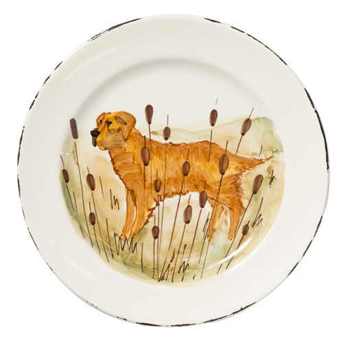 "Vietri Wildlife Hunting Dog Dinner Plate  11""D WDL-7800GR  Celebrate the grandeur of wildlife with Vietri's whimsical collection from plumpuddingkitchen.com featuring mallards, pheasants, quails and the beloved hunting dog."